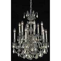 Elegant Lighting Marseille 12 Light Dining Chandelier in Pewter with Royal Cut Golden Teak Crystal 9512D24PW-GT/RC