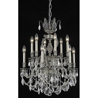 Elegant Lighting Marseille 12 Light Dining Chandelier in Pewter with Swarovski Strass Clear Crystal 9512D24PW/SS