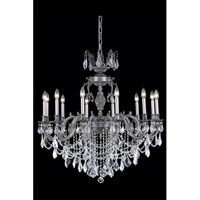 Elegant Lighting Marseille 12 Light Dining Chandelier in Pewter with Elegant Cut Clear Crystal 9512D36PW/EC