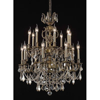 Elegant Lighting Marseille 16 Light Dining Chandelier in Antique Bronze with Swarovski Strass Golden Shadow Crystal 9516D28AB-GS/SS