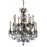 Elegant Lighting Marseille 16 Light Dining Chandelier in Antique Bronze with Elegant Cut Clear Crystal 9516D28AB/EC