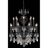 Elegant Lighting Marseille 16 Light Dining Chandelier in Dark Bronze with Elegant Cut Clear Crystal 9516D28DB/EC