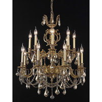 Elegant Lighting Marseille 16 Light Dining Chandelier in French Gold with Royal Cut Golden Teak Crystal 9516D28FG-GT/RC