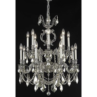 Elegant Lighting Marseille 16 Light Dining Chandelier in Pewter with Swarovski Strass Golden Teak Crystal 9516D28PW-GT/SS