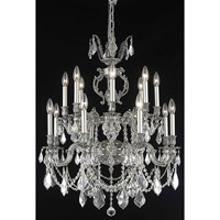 Elegant Lighting Marseille 16 Light Dining Chandelier in Pewter with Elegant Cut Clear Crystal 9516D28PW/EC