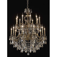 Elegant Lighting Marseille 20 Light Foyer in Antique Bronze with Swarovski Strass Golden Shadow Crystal 9520G36AB-GS/SS