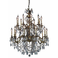 Elegant Lighting Marseille 20 Light Foyer in Antique Bronze with Elegant Cut Clear Crystal 9520G36AB/EC