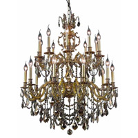 Marseille 20 Light 36 inch French Gold Foyer Ceiling Light in Golden Teak, Swarovski Strass