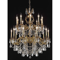 Elegant Lighting Marseille 20 Light Foyer in French Gold with Elegant Cut Clear Crystal 9520G36FG/EC