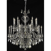 Elegant Lighting Marseille 20 Light Foyer in Pewter with Royal Cut Golden Teak Crystal 9520G36PW-GT/RC