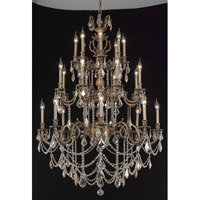 Elegant Lighting Marseille 24 Light Foyer in Antique Bronze with Royal Cut Golden Shadow Crystal 9524G38AB-GS/RC