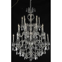 Elegant Lighting Marseille 24 Light Foyer in Pewter with Royal Cut Clear Crystal 9524G38PW/RC