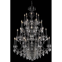 Elegant Lighting Marseille 32 Light Foyer in Dark Bronze with Elegant Cut Clear Crystal 9532G48DB/EC