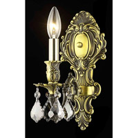Elegant Lighting 9601W5AB-SS/SS Monarch 1 Light 5 inch Antique Bronze Wall Sconce Wall Light in Silver Shade, Swarovski Strass alternative photo thumbnail