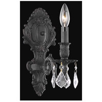 Elegant Lighting Monarch 1 Light Wall Sconce in Dark Bronze with Elegant Cut Clear Crystal 9601W5DB/EC