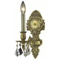 Elegant Lighting Monarch 1 Light Wall Sconce in French Gold with Royal Cut Clear Crystal 9601W5FG/RC
