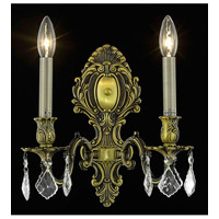 Elegant Lighting Monarch 2 Light Wall Sconce in Antique Bronze with Elegant Cut Clear Crystal 9602W10AB/EC alternative photo thumbnail