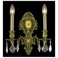 Elegant Lighting Monarch 2 Light Wall Sconce in Antique Bronze with Swarovski Strass Golden Shadow Crystal 9602W10AB-GS/SS