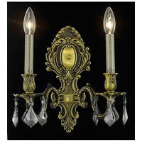 Elegant Lighting 9602W10AB-SS/SS Monarch 2 Light 10 inch Antique Bronze Wall Sconce Wall Light in Silver Shade, Swarovski Strass alternative photo thumbnail