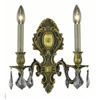 Elegant Lighting Monarch 2 Light Wall Sconce in Antique Bronze with Royal Cut Silver Shade Crystal 9602W10AB-SS/RC