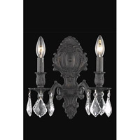 Elegant Lighting 9602W10DB/RC Monarch 2 Light 10 inch Dark Bronze Wall Sconce Wall Light in Clear, Royal Cut alternative photo thumbnail