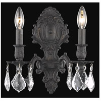 Elegant Lighting Monarch 2 Light Wall Sconce in Dark Bronze with Royal Cut Clear Crystal 9602W10DB/RC