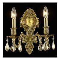 Elegant Lighting 9602W10FG-GT/SS Monarch 2 Light 10 inch French Gold Wall Sconce Wall Light in Golden Teak, Swarovski Strass alternative photo thumbnail