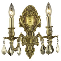 Elegant Lighting Monarch 2 Light Wall Sconce in French Gold with Royal Cut Golden Teak Crystal 9602W10FG-GT/RC