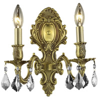 Elegant Lighting Monarch 2 Light Wall Sconce in French Gold with Elegant Cut Clear Crystal 9602W10FG/EC
