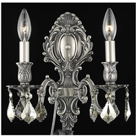 Monarch 2 Light 10 inch Pewter Wall Sconce Wall Light in Golden Teak, Swarovski Strass