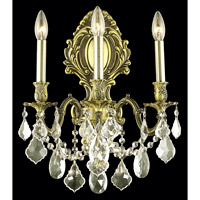 Elegant Lighting Monarch 3 Light Wall Sconce in Antique Bronze with Royal Cut Golden Shadow Crystal 9603W14AB-GS/RC