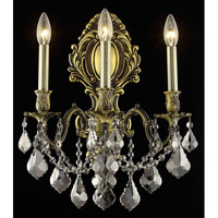 Elegant Lighting Monarch 3 Light Wall Sconce in Antique Bronze with Royal Cut Silver Shade Crystal 9603W14AB-SS/RC