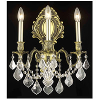 Elegant Lighting Monarch 3 Light Wall Sconce in Antique Bronze with Royal Cut Clear Crystal 9603W14AB/RC
