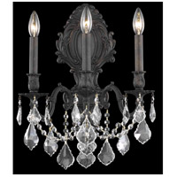 Elegant Lighting Monarch 3 Light Wall Sconce in Dark Bronze with Royal Cut Clear Crystal 9603W14DB/RC
