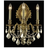 Elegant Lighting Monarch 3 Light Wall Sconce in French Gold with Royal Cut Golden Teak Crystal 9603W14FG-GT/RC