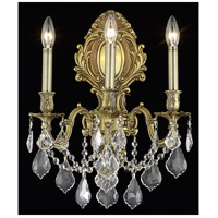 Elegant Lighting Monarch 3 Light Wall Sconce in French Gold with Swarovski Strass Clear Crystal 9603W14FG/SS