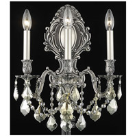 Elegant Lighting Monarch 3 Light Wall Sconce in Pewter with Royal Cut Golden Teak Crystal 9603W14PW-GT/RC