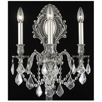 Elegant Lighting Monarch 3 Light Wall Sconce in Pewter with Elegant Cut Clear Crystal 9603W14PW/EC