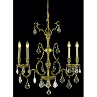 Elegant Lighting Monarch 4 Light Dining Chandelier in Antique Bronze with Royal Cut Golden Shadow Crystal 9604D26AB-GS/RC