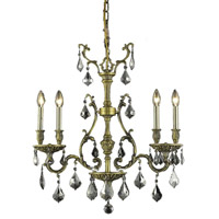 Elegant Lighting Monarch 4 Light Dining Chandelier in Antique Bronze with Royal Cut Silver Shade Crystal 9604D26AB-SS/RC