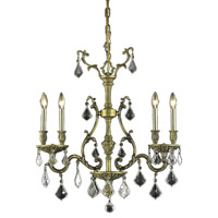 Elegant Lighting Monarch 4 Light Dining Chandelier in Antique Bronze with Elegant Cut Clear Crystal 9604D26AB/EC
