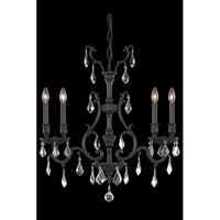Elegant Lighting Monarch 4 Light Dining Chandelier in Dark Bronze with Elegant Cut Clear Crystal 9604D26DB/EC