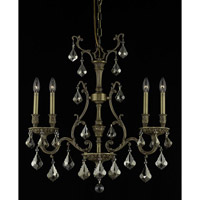 Elegant Lighting Monarch 4 Light Dining Chandelier in French Gold with Swarovski Strass Golden Teak Crystal 9604D26FG-GT/SS
