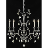 Elegant Lighting Monarch 4 Light Dining Chandelier in Pewter with Royal Cut Golden Teak Crystal 9604D26PW-GT/RC