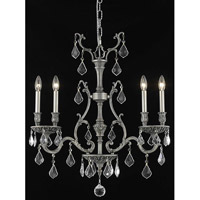 Elegant Lighting Monarch 4 Light Dining Chandelier in Pewter with Elegant Cut Clear Crystal 9604D26PW/EC