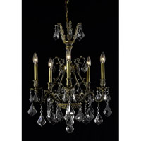 Elegant Lighting Monarch 5 Light Dining Chandelier in Antique Bronze with Royal Cut Silver Shade Crystal 9605D21AB-SS/RC