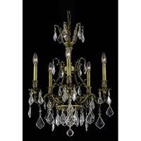 Elegant Lighting Monarch 5 Light Dining Chandelier in Antique Bronze with Elegant Cut Clear Crystal 9605D21AB/EC
