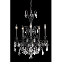 Elegant Lighting Monarch 5 Light Dining Chandelier in Dark Bronze with Elegant Cut Clear Crystal 9605D21DB/EC