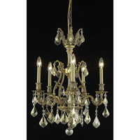Elegant Lighting Monarch 5 Light Dining Chandelier in French Gold with Swarovski Strass Golden Teak Crystal 9605D21FG-GT/SS