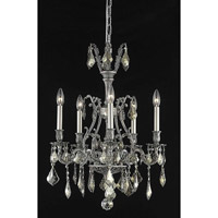 Elegant Lighting Monarch 5 Light Dining Chandelier in Pewter with Swarovski Strass Golden Teak Crystal 9605D21PW-GT/SS